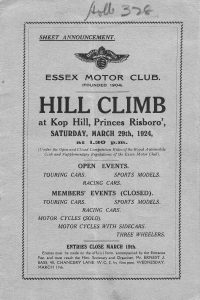 Essex Motor Club Programme from March 29th 1924